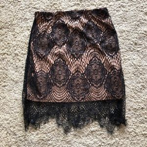 TOBI Black lace mini skirt XS elastic waistband